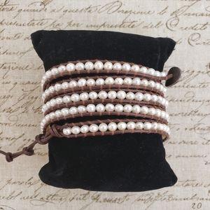 Chan Luu White Pearl Five Wrap Bracelet